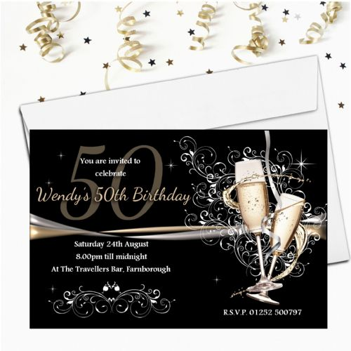 Personalised Black & Gold Champagne Swirls Birthday Party Invitations N183
